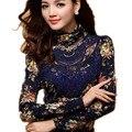 spring and autumn women's lace turtleneck long-sleeve slim shirt  Thick velvet basic t-shirt