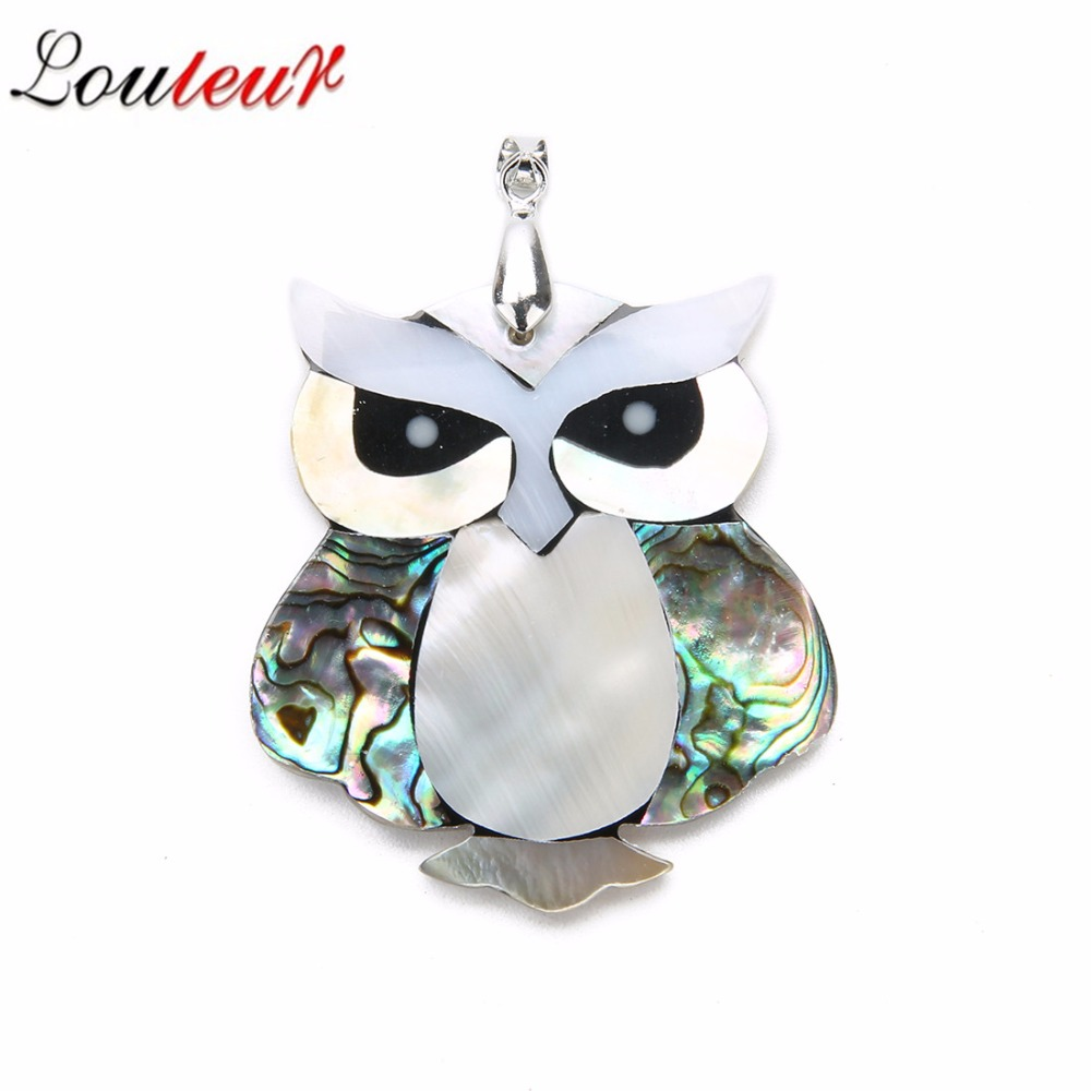 Louleur Cute Owl Shell Pendant For DIY Jewelry Making Mix Natural Mother of Pearl Shell Charm Pendant For Men Women Necklace