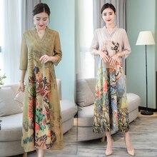 Large size S-4XL 2018 new fashion Peacock Printed Women's Autumn Dress V-Neck Long Dresses Party Elegant Vestido Loose Robe