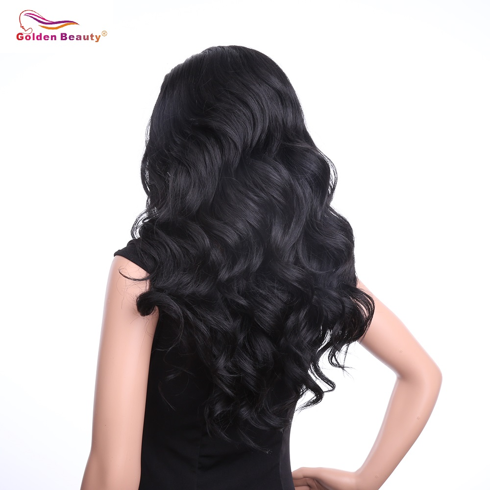 24inch Body Wave Lace Front Wig Synthetic Hair Ombre Grey Synthetic Wigs Long Black Wig for Women Golden Beauty