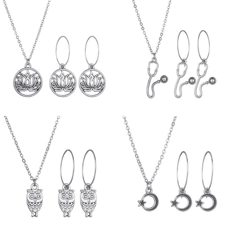 UNB Vintage Moon Heart Earrings Necklace Set For Women Fashion Jewelry Set Silver Star Owl Necklace Punk Women Jewelry