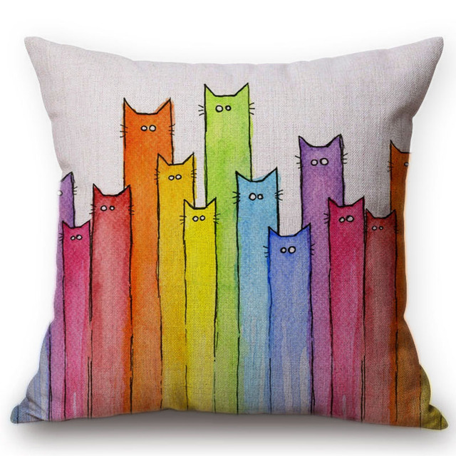 Colorful Painting Cat Cute Kitten Pattern Sofa Throw Pillow Covers Home Decorative Cushion Bedroom Decor 18