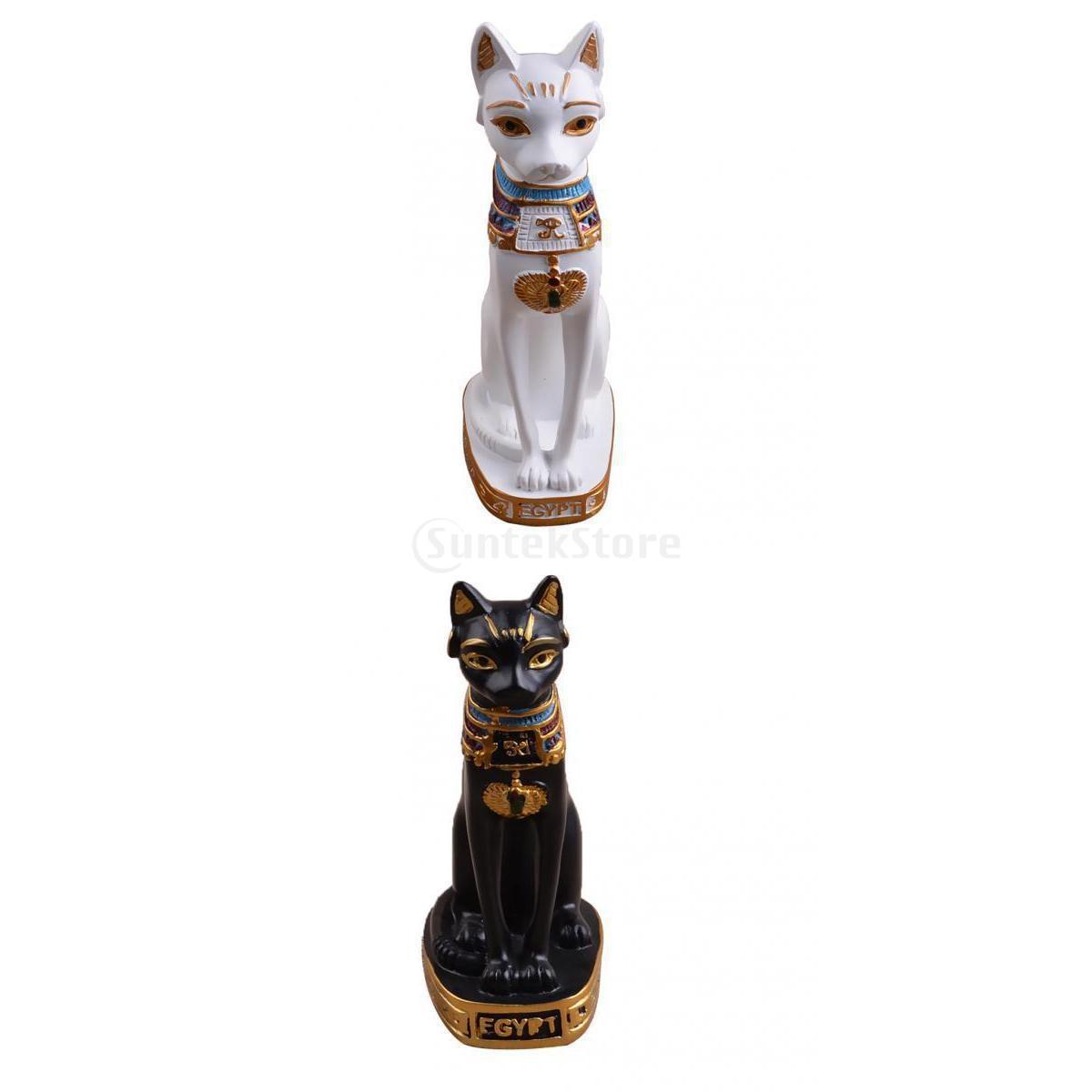 Mini Resin Egyptian Mau Cat Statue Sculpture Home Cafe Art Decor Ornaments