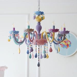 Image 2 - Crystal Chandelier Children Bedroom light colorful glass living room chandeliers Fantasy Luminaire Stained Glass Lustre