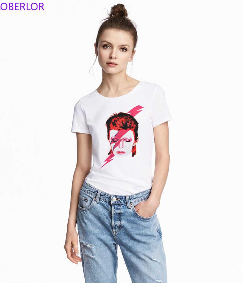 2019 David T Nueva Divertida Estampado Rock De Bowie Casual Blanco Cool Verano Llegada Mujer Hop Hip Camisa Camiseta deWQrCoBxE