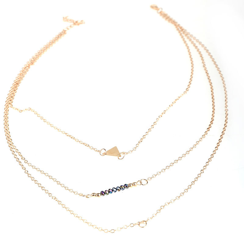 New fashion women gold multilayers chain necklace three layers gold new fashion women gold multilayers chain necklace three layers gold roundtriangle pendant necklace lady multilayers chain in pendant necklaces from jewelry aloadofball Image collections