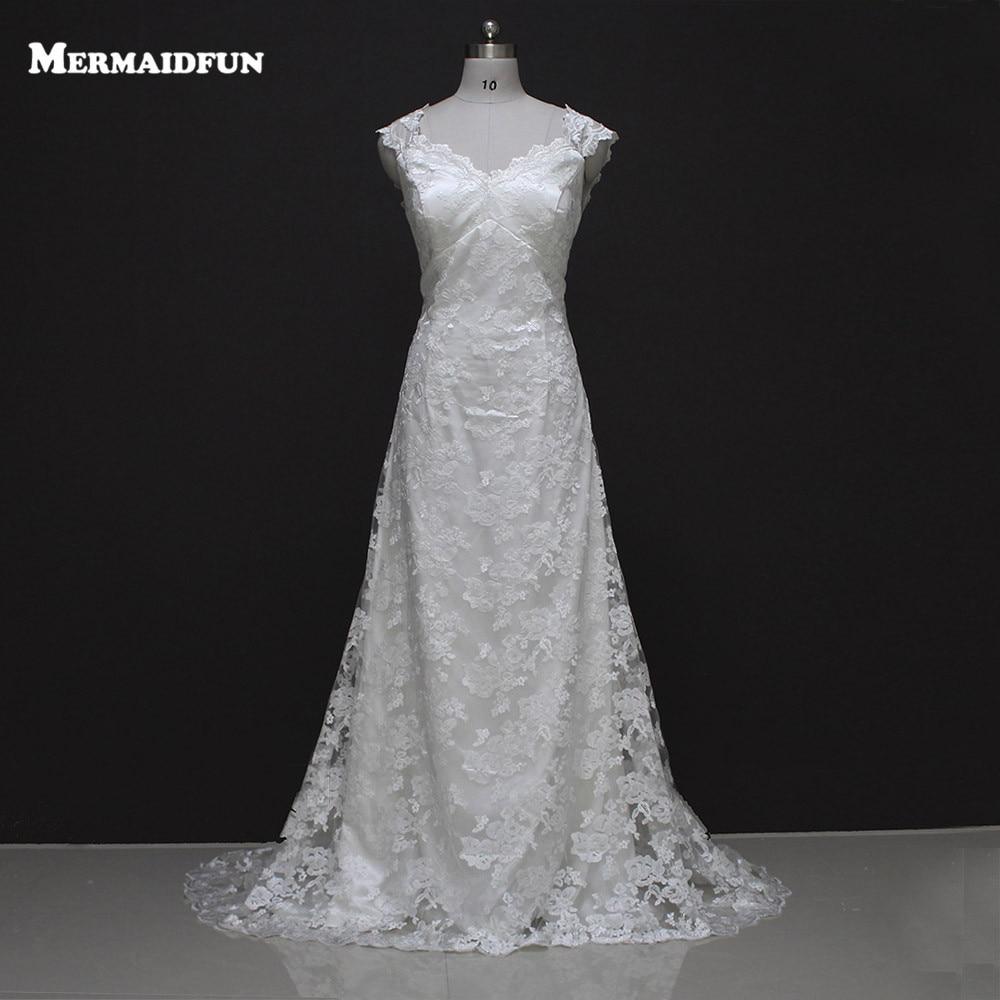 2017 Mermaid Cap Sleeve Backless Vintage Bohemian Lace Wedding Dress Romantic Boho Bridal Gown Robe De Mariage