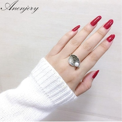 ANENJERY 925 Sterling Silver Vintage Thai Silver Leaf Pearl Ring For Women Personality Ring S-R89