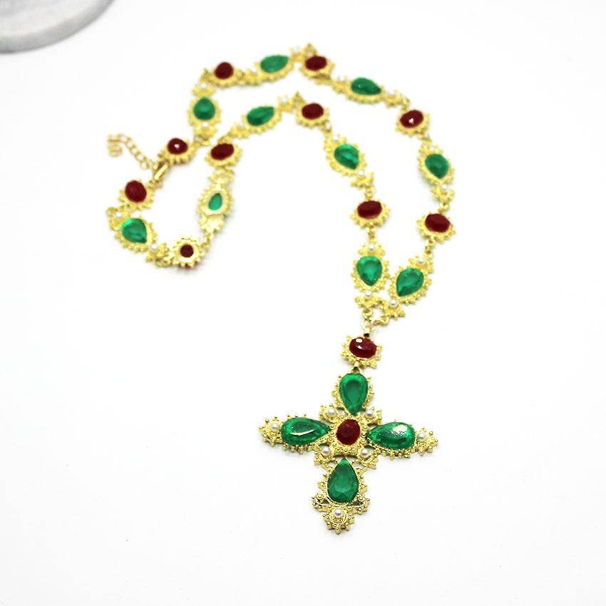 Runway Baroque Style Luxury Black Beads Cross Gold Vintage Fashion Big-Earrings