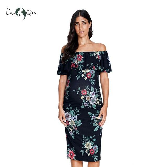 74657ad343 Women Printed Skirt Dress Maternity Clothes Off Shoulder Short Sleeve Dress  Pregnant Nursing Clothes Women Maternity Dress
