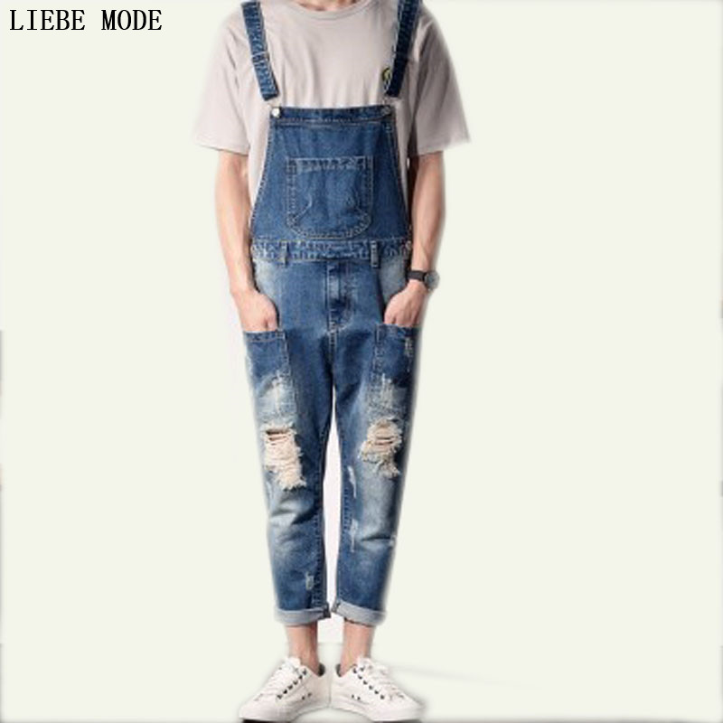 2017 Spring Mens Ripped Jeans Overalls Work Fashion Slim Fit Bib Overalls Men Casual Male Denim Jumpsuit Suspender Pants  2016 spring autumn fashion brand mens slim jeane overalls casual bib jeans for men male ripped denim jumpsuit