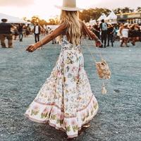 TEELYNN wild bloom maxi boho skirts Beige rayon Women Skirts floral print long skirt elastic waist large hem Gypsy skirt falda