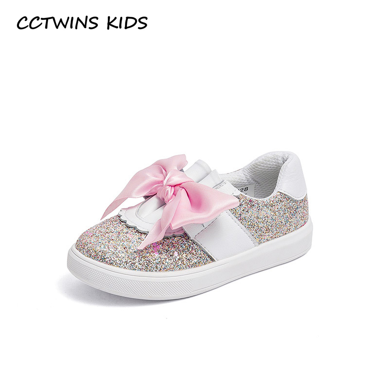 купить CCTWINS KIDS 2018 Autumn Baby Girl Genuine Leather Trainer Children Fashion Slip-On Shoe Kid Bow Glitter Sport Sneaker FSO2288 по цене 1636.14 рублей