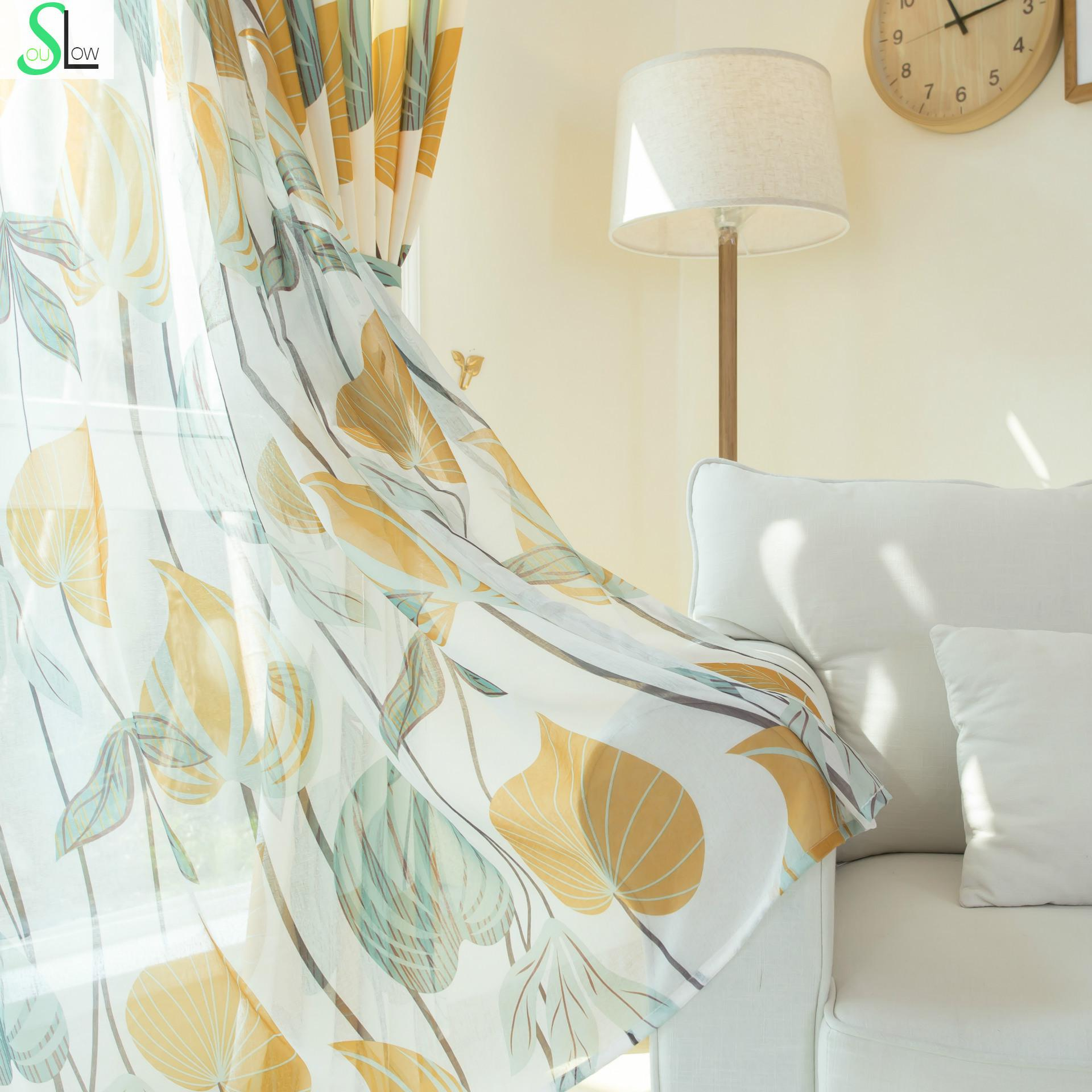 Slow Soul Autumn Yellow New Korean Pastoral Leaves Curtains Cortina ...