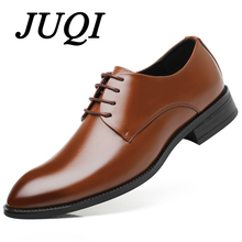 JUQI 2019 Men Business Dress Shoes Classic Formal Cow Leather Soft Office Wedding Big Size 38-48