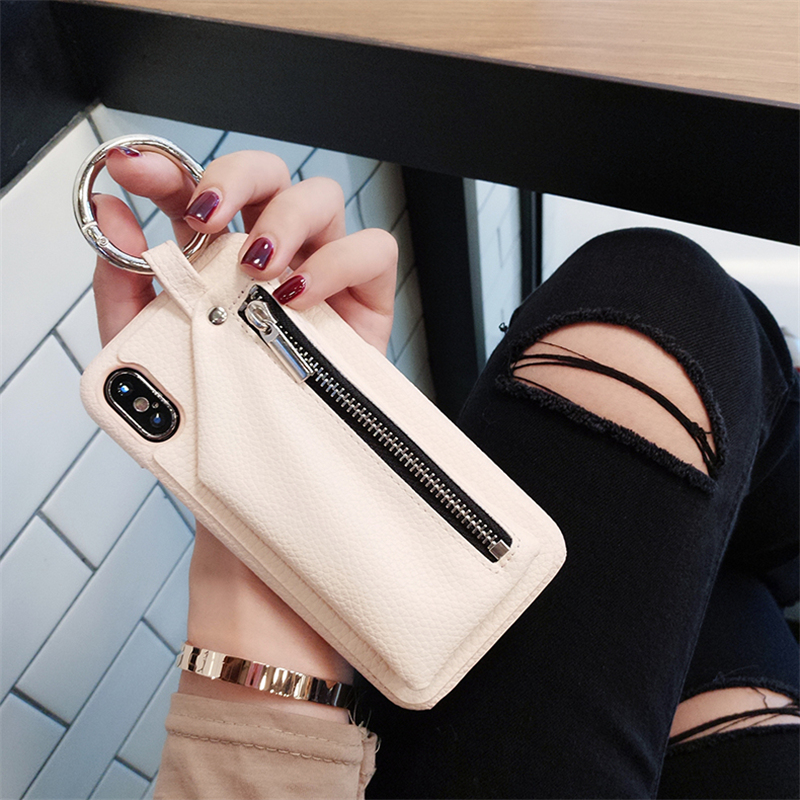 New PU Leather Zipper Wallet Case for iPhone X 7 7plus Lady style Leather case for iPhone 6 6plus 6s 6splus 8 8Plus