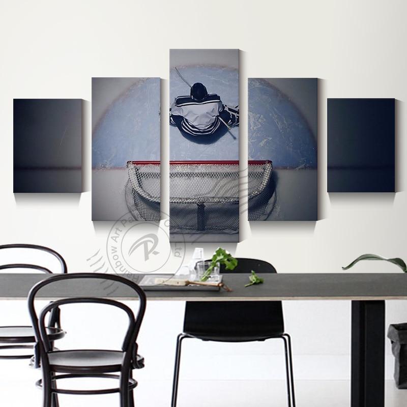 5 Piece Hockey Goalie Oil Painting Ice Hockey Goalkeeper Canvas