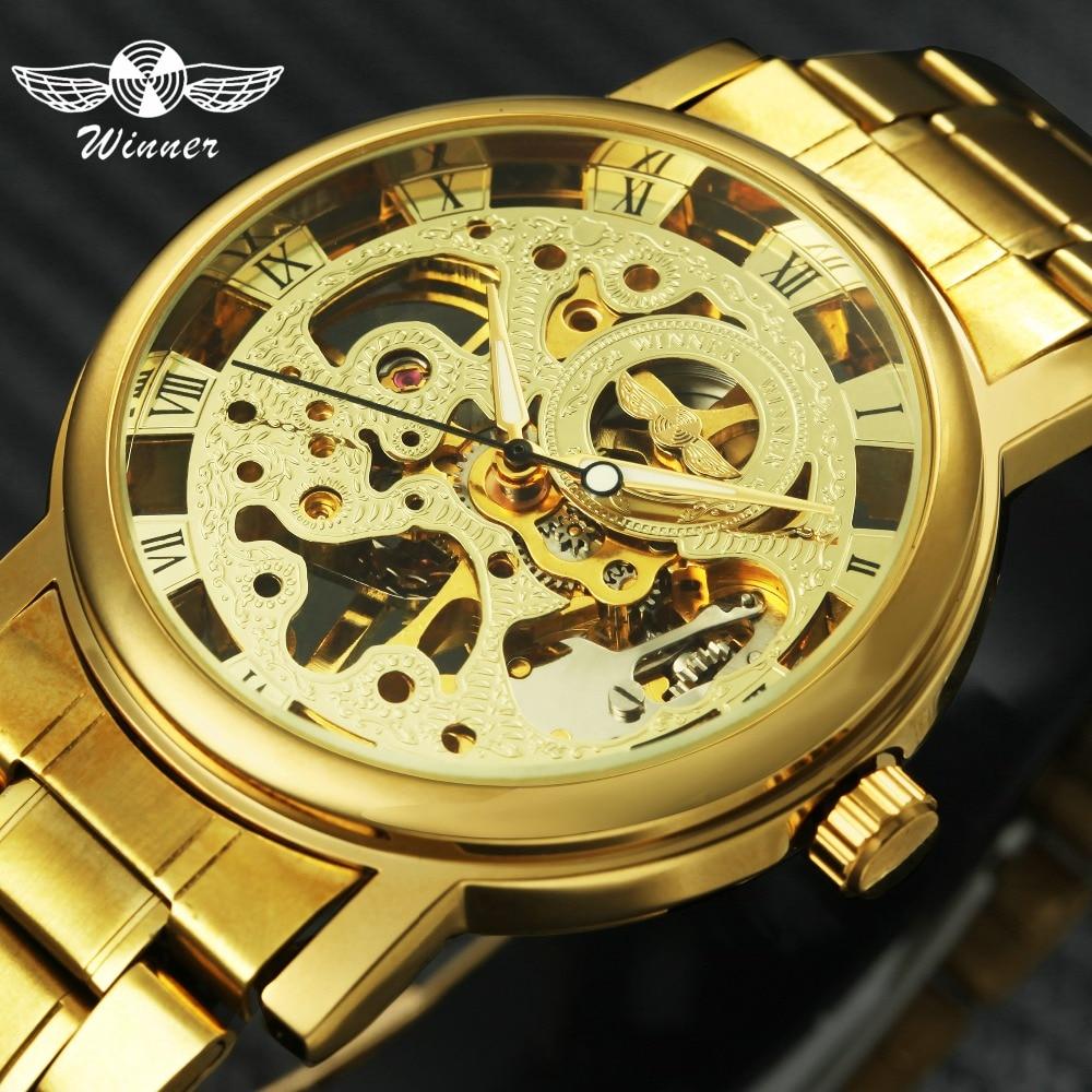 12853b6fe9f Comprar 2018 VENCEDOR de Luxo Da Marca Top Clássico Relógio Mecânico Homens  Mostrador Esqueleto Negócio Da Moda Presente de Casamento de Ouro Unisex ...
