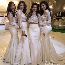 2017 Elegant white Two Piece Bridesmaid Dresses with long sleeves lace and satin maid of honor dresses long prom dress vestido