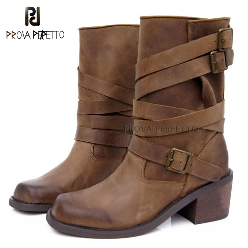 Prova Perfetto 2018 Do Old Non-Slip Leather Mid Boots Women Retro Belt Buckle Slip On Thick Heels Boots Neutral Motrocycle Shoes buckle slip on wedges