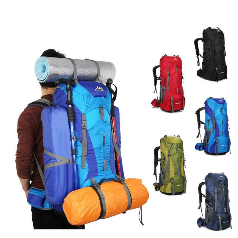 купить 75L Nylon Camping Hiking Backpack Waterproof Sports Bag Men Women Outdoor Travel Trekking Rucksack Mountain Climb Equipment по цене 2243.24 рублей