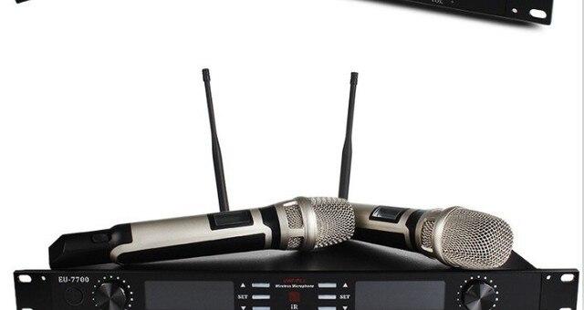 2017 Новейший Профессиональный беспроводной микрофон + Приемник EU-7700 U-band Высокого Качества для речи, мероприятия на свежем воздухе, домашнего использования, концерт