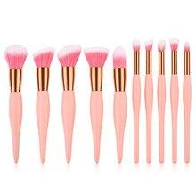 10pcs/set makeup brush set for Foundation blush Liquid Kabuki brush Makeup Brush Oblique Head Eye shadow Brush kit T10104 недорого