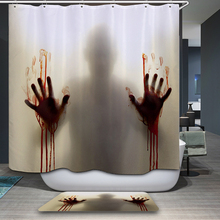 New Arrivals Shower Curtain Retro Horror Element Cartoon Pattern Waterproof  Bathroom Fabric Home Decorative Shower Curtain
