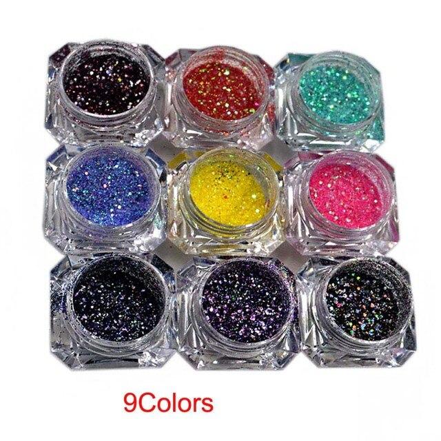 1 סט/9 קופסות 9 לערבב צבעים גליטר-נצנצים זוהרים-לערבב גודל הולוגרפית שמנמן גליטר לערבב- crafting-נייל גליטר