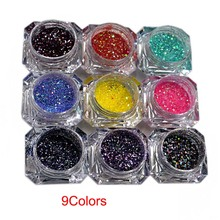 9jars/Lot (5ml Jar )Iridescent Extra Fine -Fantasy Iridescent 9 colors glitter dust Mixed Size for nail Art or other decoration