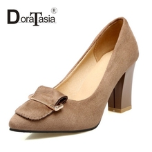 DoraTasia 2017 Slip On Flock Chunky High Heel Woman Pumps Fashion Sequined Pointed Toe Wedding Shoes Women Big Size