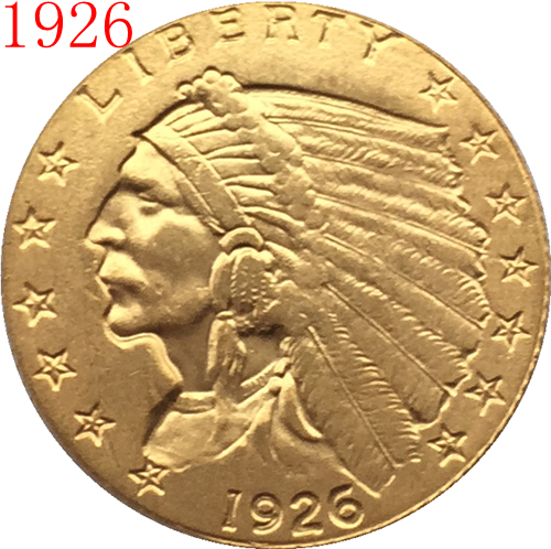 24-K gold plated 1926 $2.5 GOLD Indian Half Eagle Coin Copy Free shipping