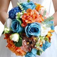 Sunflowers Blue Rose Flowers Wedding Bridal Bouquet Bridesmaid bouquet artificial bouquet New Arrival