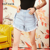 ELF SACK Denim Shorts Women Fashion Ladies Tassel Mid Waist Summer Short Jeans Sexy Mini Cotton Straight Casual Lady Shorts