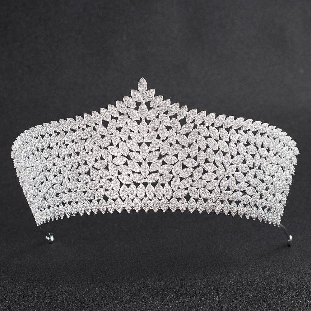 Takı ve Aksesuarları'ten Saç Takısı'de Kristaller CZ kübik zirkon Düğün Gelin Büyük Kraliyet Tiara Diadem Taç Kadınlar Balo Saç Takı Aksesuarları CH10034'da  Grup 1