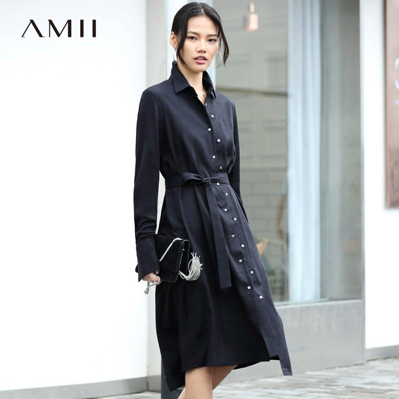 Amii Women Minimalist 2018 Autumn Dress Office Lady Chic Belt Double Breasted Drop Female Dresses