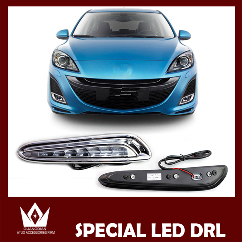 Tcart High Quality 1Set Car Accessories Car LED Daytime Running Lights White DRL Auto Headlights For Mazda 3 2010 2011 2012 2013 1set car accessories daytime running lights with yellow turn signals auto led drl for volkswagen vw scirocco 2010 2012 2013 2014