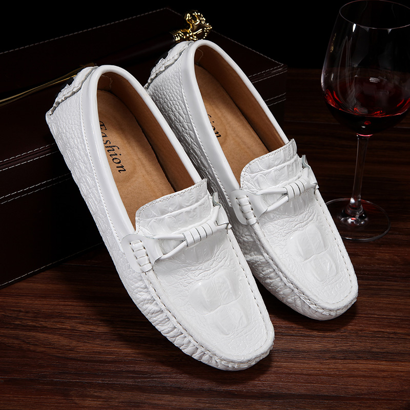 Mocasin Cuero Hombre White Leather Casual Shoes Men Spring Slip On Loafers Soft Italian Leather Flats Super Light Mans Moccasins