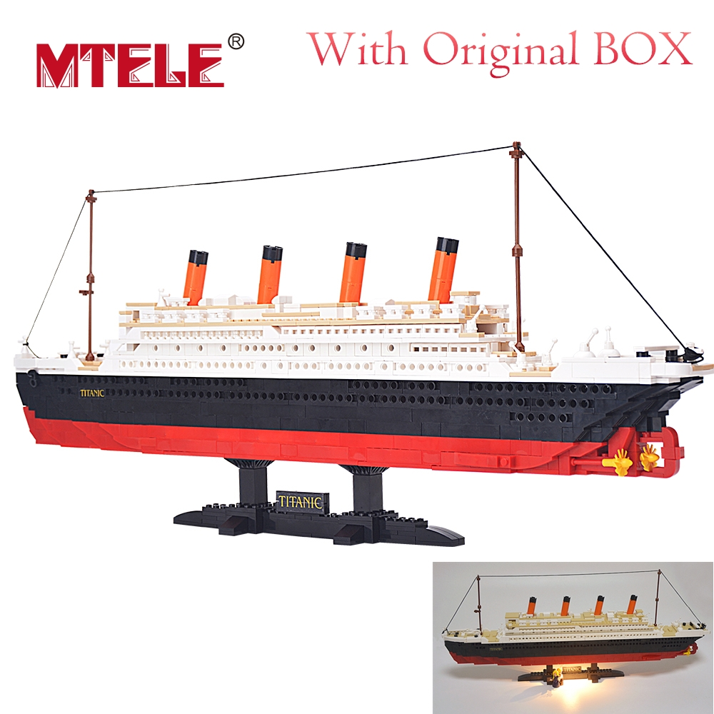MTELE Brand 1021Pcs M38-B0577 Titanic Ship Building Blocks Set Toy Boat Modell Barn Gåvor Med Led Light Set