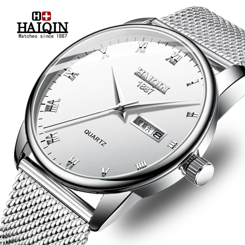 HAIQIN Novos Homens Da Moda Relógios Top Marca de Luxo Relógio de Quartzo Dos Homens Casuais Malha de Aço Militar Relógio À Prova D' Água Relogio masculino