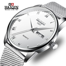 HAIQIN New Fashion Mens Watches Top Brand Luxury Quartz Watch Men Casual Mesh Steel Military Waterproof Clock Relogio Masculino dom women watches dom brand luxury new casual waterproof leather dress quartz watch mesh strap clock relogio faminino g 36gk 1ms