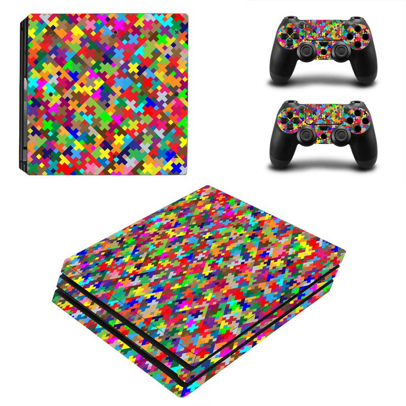 Fashion Painted Vinyl Game Protective Skin Sticker For Playstation 4 Pro Decal Cover Sticker For PS4 Pro Console +2 Controller