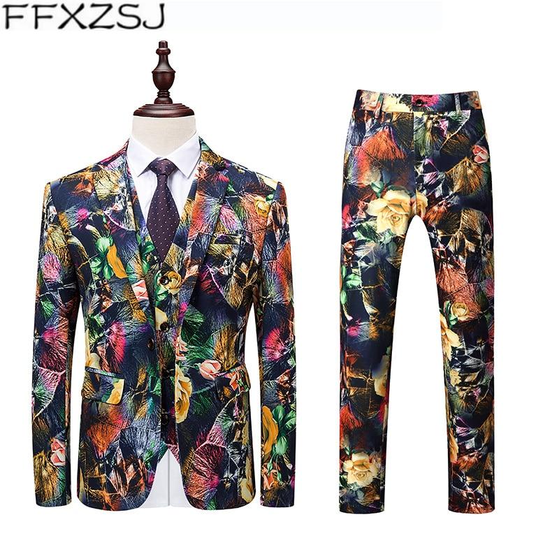 Jacket+Pant+Vest Suit Men Korean Slim Fit Casual Stylish Print Mens Dress Suits Plus Size Streetwear Fashion Prom Tuxedo 6XL 5XL