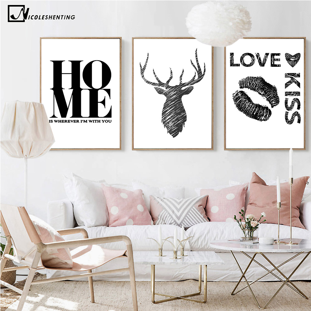 NICOLESHENTING Nordic Art Deer Abstrakt Canvas Poster Minimalistisk Print Motivational Wall Billede til Living Room Home Decoration