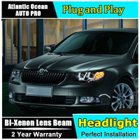Car Styling LED Head Lamp for Skoda Superb headlights 2009 2014 Superb drl Automobile HID KIT Bi Xenon Lens angel eyes low beam