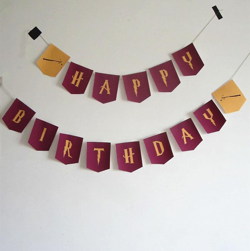 fuente de harry potter letras de feliz cumpleaños guirnalda banderas