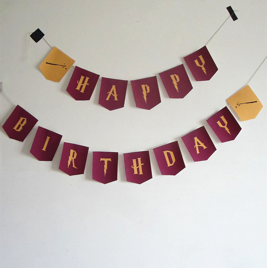 harry potter font Happy Birthday letters Garland Flags Bunting Banners for Kids Birthday Party Decor Supplies