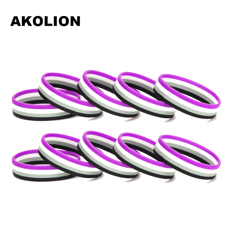 Gay Pride <font><b>Asexual</b></font> Silicone Rubber Bracelets Sports Wrist Band Bangle 10pcs/lot SLP-0004 image