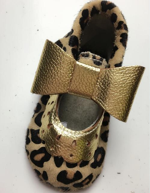 50 par/lote Nueva Moda mary jane Del Bebé del leopardo del cuero Genuino Mocasines nudo Primeros Caminante Recién Nacido Bebés Suaves zapatos de Las Muchachas