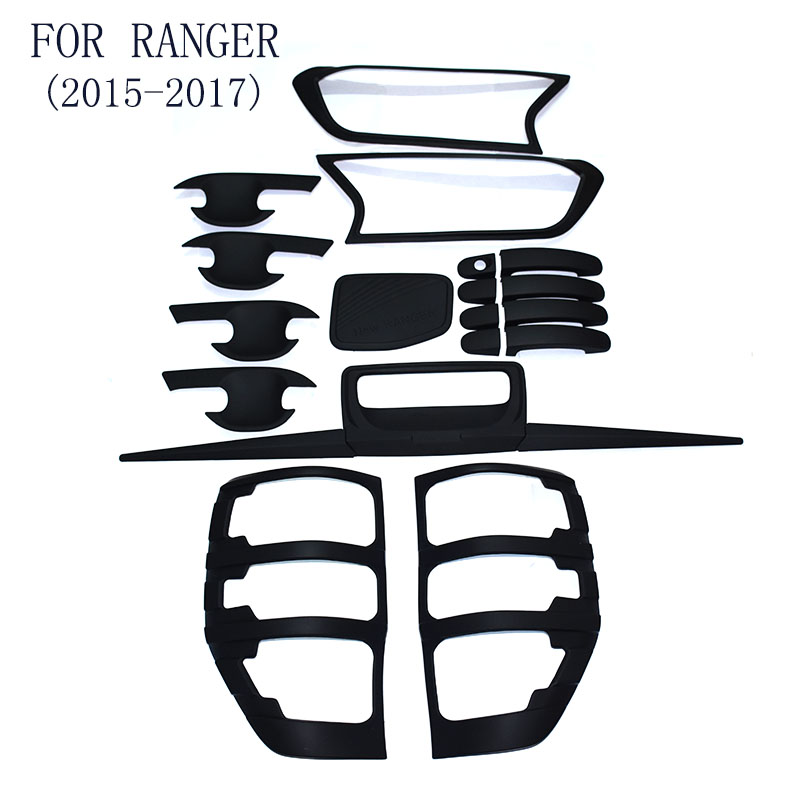 FIT For Ford Ranger T7 2015-2017 Handle Bowl Fog Lamp HeadLight Tailigt Cover Trim ABS BLACK Detector Car Styling Accessories футболка классическая printio call of duty